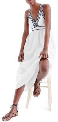 Women's J.crew Embroidered Cross Back Maxi Dress $128 thestylecure.com