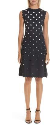 Oscar de la Renta Scallop Edge Polka Dot A-Line Dress