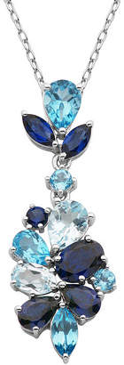 FINE JEWELRY Sterling Silver Shades of Blue Flower Pendant Necklace