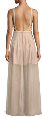 Fame & Partners The Duff Long Formal Dress Gown w/ Tulle Skirt & Cutouts