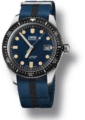 Oris Men's 42mm Diver Watch w/ Textile Strap, Black/Blue