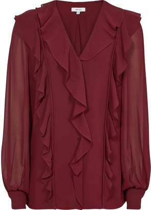 Reiss Goldie - Ruffle-front Blouse in Merlot