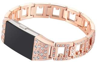 Fitbit For Charge 2, bayite Replacement Hollow out Metal Bands with Rhinestone Adjustable Charge 2 Bands Bracelet Rose Gold