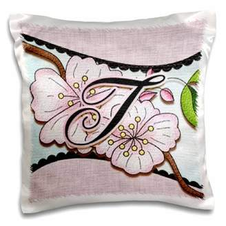 3dRose Cherry Blossom Flower Monogram Initial T - Pillow Case, 16 by 16-inch