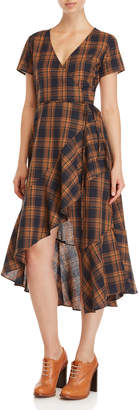 Lush Plaid Wrap Midi Dress