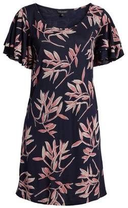 Lucky Brand Printed Ruffle Sleeve Dress