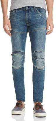 G Star 5620 3-D Zip-Knee Skinny Fit Jeans in Light Vintage Aged Ripped