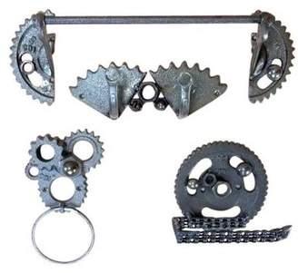 Carver's Olde Iron Gear Head Cast Iron Gears Bathroom Accessory Set 4 piece