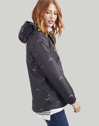 Joules BLACK BEES Golightly short Waterproof Packaway Jacket Size 12