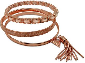 GUESS Gold-Tone 3-Pc. Set Black Bead & Faux Suede Bangle Bracelets