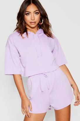 boohoo Raw Edge Crop Hoody & Shorts Co-ord Set