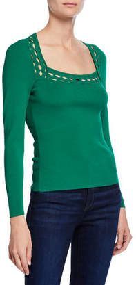 Milly Square-Neck Long-Sleeve Top with Diamond Cutouts
