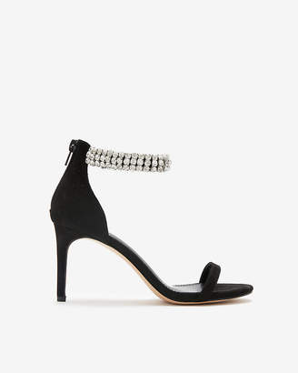 Express Jeweled Ankle Strap Heeled Sandals