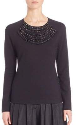 Escada Beaded Jersey Top