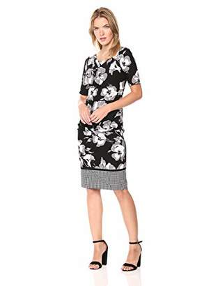 Adrianna Papell Women's Cowl Neckline Suited Floral Sheath Dress