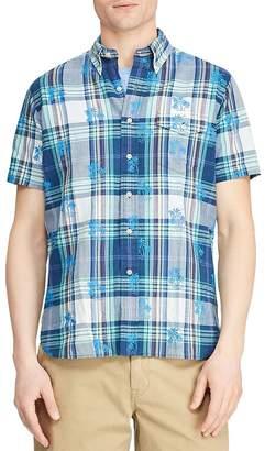 Polo Ralph Lauren Short-Sleeve Palm Tree-Print Plaid Custom Fit Button-Down Shirt