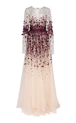 Pamella Roland Crystal Embellished Tulle Gown