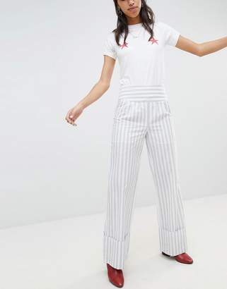Lost Ink PANTS With Wide Leg And Turn Ups In Stripe