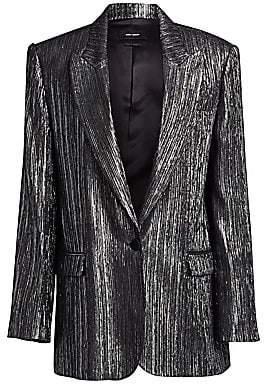 Isabel Marant Women's Datja Silver Metallic Boyfriend Blazer