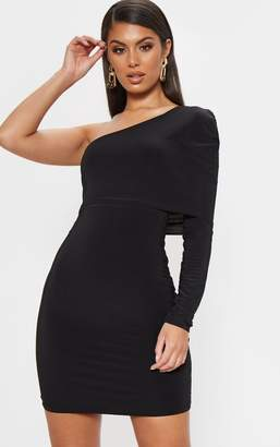 PrettyLittleThing Black Slinky One Shoulder Cape Detail Bodycon Dress