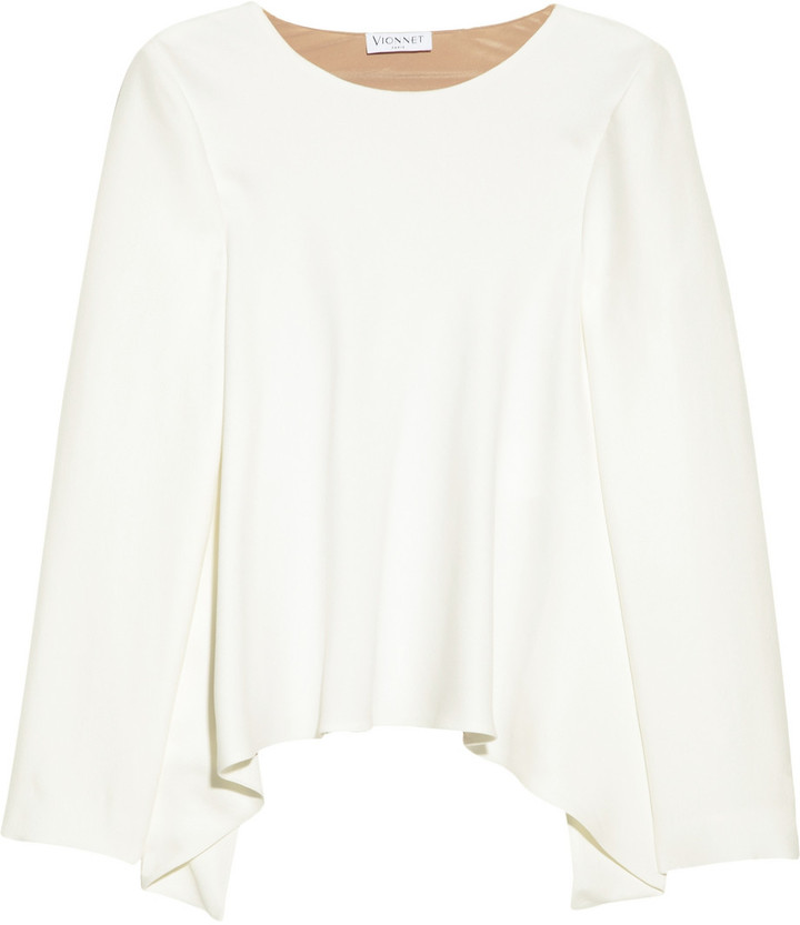 Vionnet Draped-back crepe top