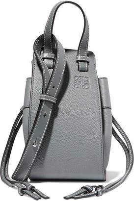 Loewe Hammock Dw Mini Textured-leather Shoulder Bag - Mid denim