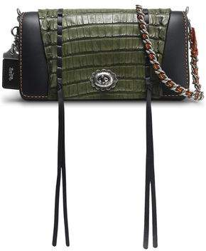 Coach Crocodile-Paneled Leather Shoulder Bag