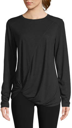 ST. JOHN'S BAY SJB ACTIVE Active-Womens Crew Neck Long Sleeve T-Shirt