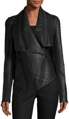 P. Luca Faux-Leather Striped Drape-Front Jacket, Black $183 thestylecure.com