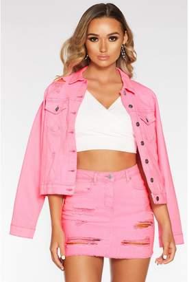 Quiz Neon Pink Denim Ripped Jacket