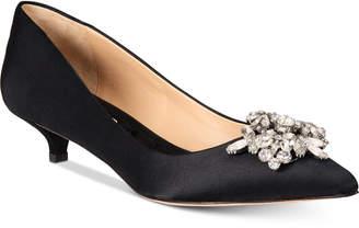 Badgley Mischka Vail Evening Pointed-Toe Kitten-Heel Pumps Women's Shoes