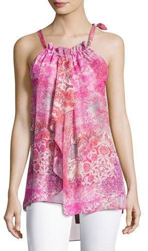 Elie Tahari Carmen Floral-Print Silk Halter Blouse, Pink