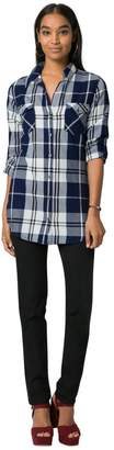 Le Château Women's Cotton Check Button-Down Tunic,S