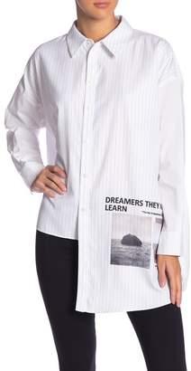 Grey Lab Oversized Hi-Lo Graphic Pinstripe Button Down Shirt