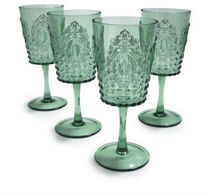 Sur La Table Green Ruby Wine Glasses, Set of 4