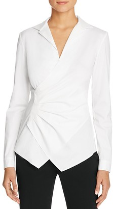 Lafayette 148 New York Odetta Tucked Faux Wrap Blouse $398 thestylecure.com