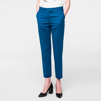 Women's Slim-Fit Teal Merino Wool Trousers $350 thestylecure.com