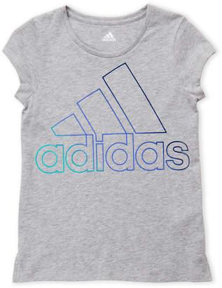 adidas Girls 7-16) Grey Logo Tee