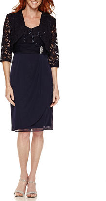 R & M Richards 3/4 Sleeve Embellished Dress Set-Talls $140 thestylecure.com