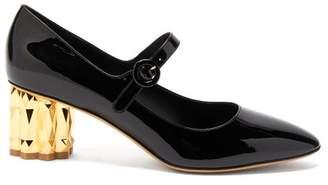 Salvatore Ferragamo Ortensia Column Heel Patent Leather Pumps - Womens - Black