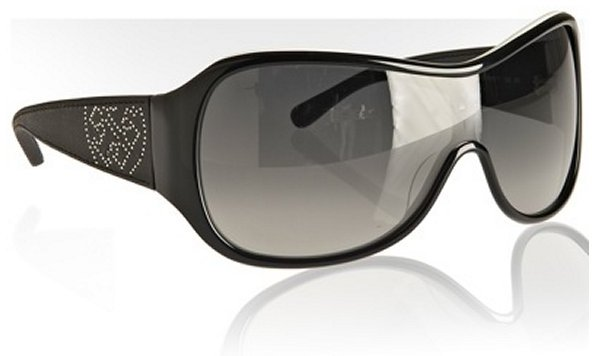 Tory Burch black and white acrylic and leather wrap sunglasses