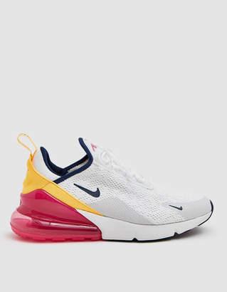 Nike 270 Sneaker in Summit White/Midnight Navy