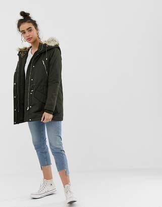 Only Leonora Longline Parka Coat with Faux Fur Trim