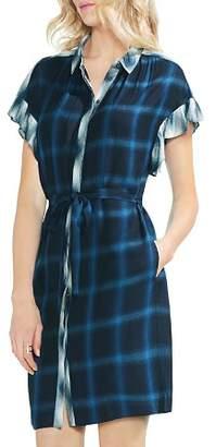 Vince Camuto Mixed-Plaid Shirt Dress