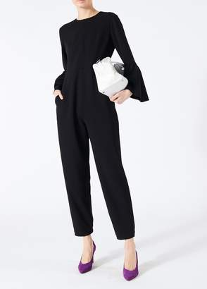 Tibi Structured Crepe Bell Sleeve Jumpsuit