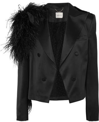 Magda Butrym Lubeck Feather-trimmed Silk And Wool-blend Blazer - Black