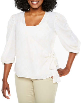 WORTHINGTON Worthington Elbow Sleeve Wrap Shirt-Petite