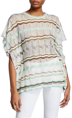 M Missoni Crewneck Short-Sleeve Stripe-Patterned Tunic