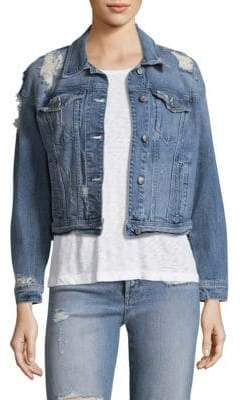 Joe's Jeans Taylor Hill x Kallie Cropped Destructed Denim Jacket