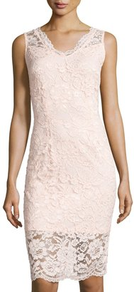 Marina Sleeveless Lace Sheath Dress, Pink $99 thestylecure.com